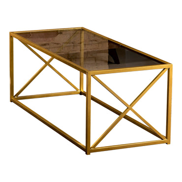 Geises 47'' Wide Metal & Tempered Glass Coffee Table - Decorotika