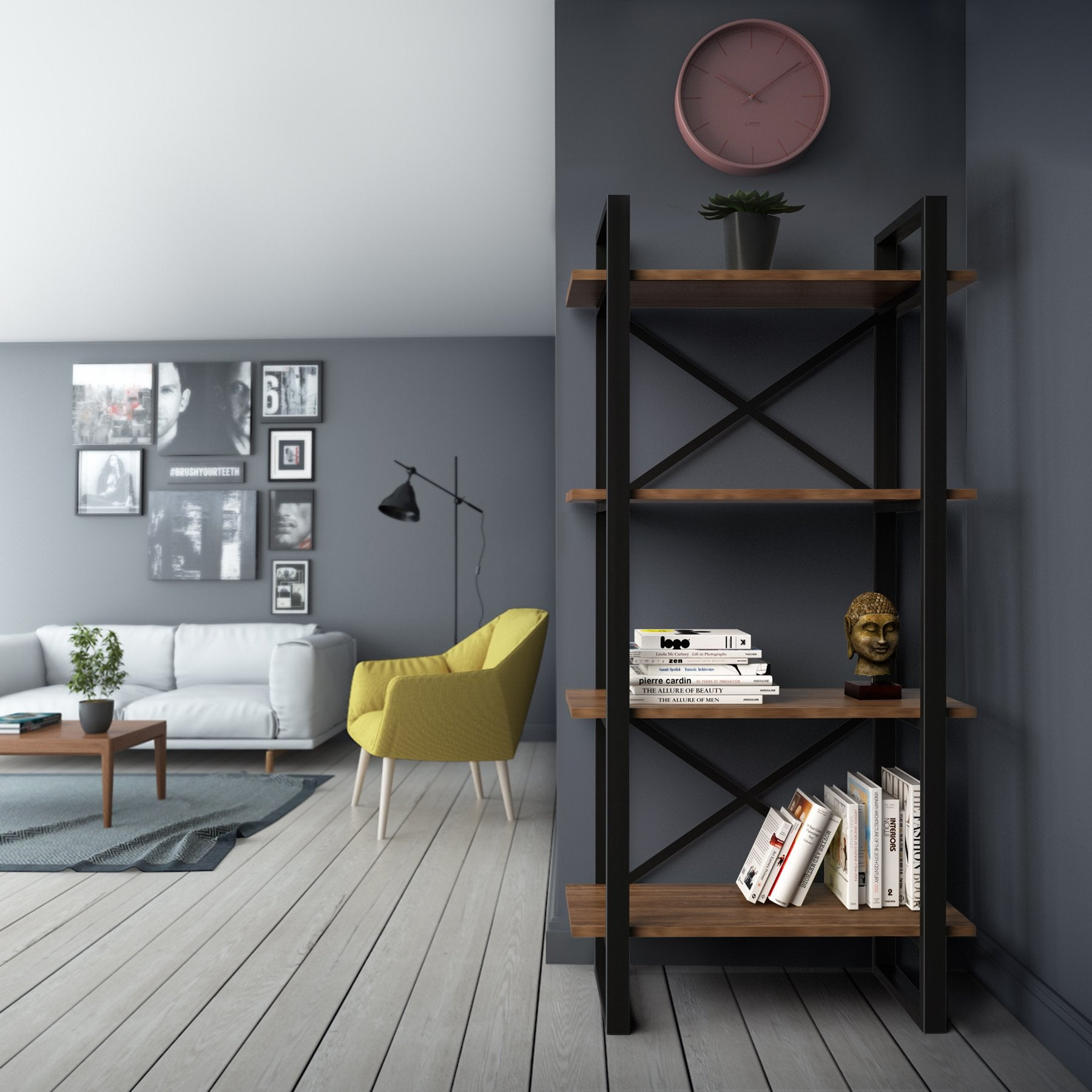 Assolute 58'' Tall Industrial Metal Wood Bookcase - Decorotika