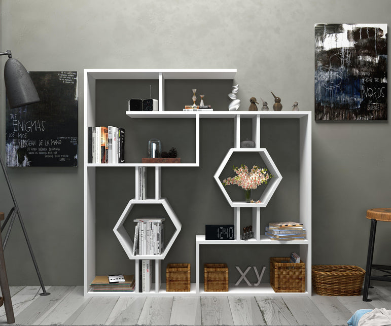 "Tamara 53"" Tall Geometric Bookcase - Decorotika"