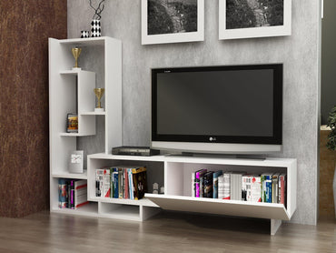 "Pegai TV Stand & Entertainment Center for TVs up to 55"" - White - Decorotika"