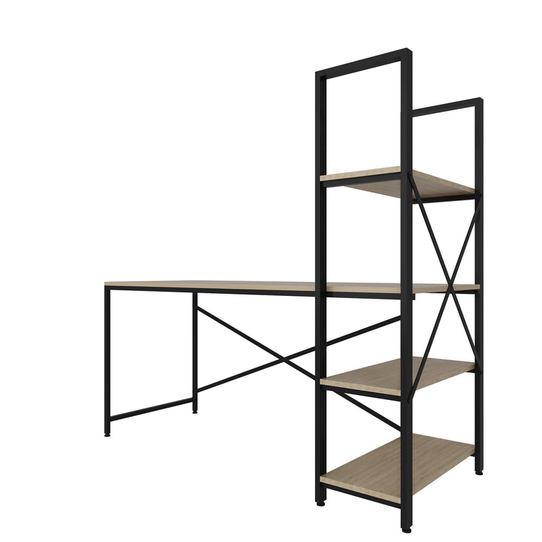 "Gentile 63"" Wide Modern Industrial Computer Desk with 4-Tier Shelves - Black and Oak - Decorotika"
