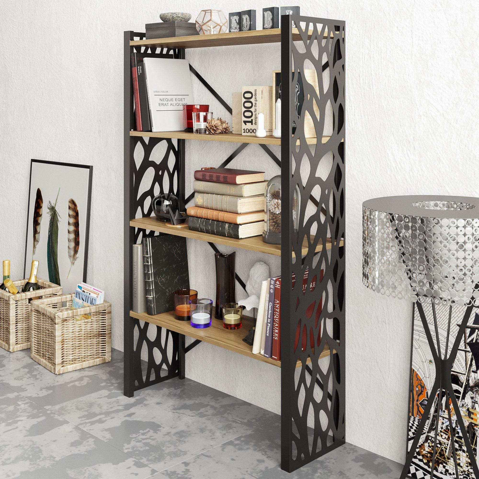 Toungfu 58'' Tall Metal Wood Accent Bookcase - Decorotika