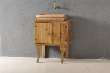 Classic Bathroom Solid Wood Cabinet and Sink - Light Walnut - Decorotika