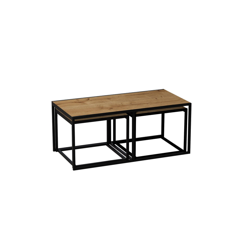 Gigante 3 Piece Metal Wood Nesting Coffee Table Set - Decorotika