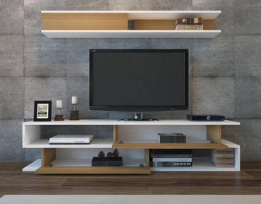 "Sims 71"" TV Stand and Entertainment Center with Wall Shelf - Teak & White - Decorotika"