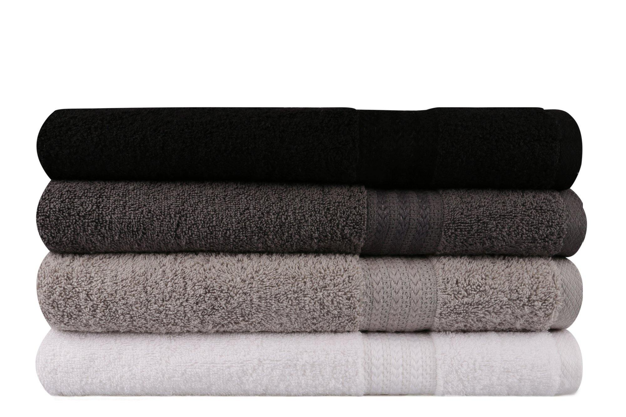 Highly Absorbent Premium Quality 100% Turkish Cotton 4 Piece Bath Towel Set with Special Gift Box - Size 28'' x 55'' (70 x 140 cm) - Decorotika
