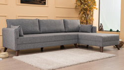 Bella Right-Hand Corner Sofa - Gray - Decorotika