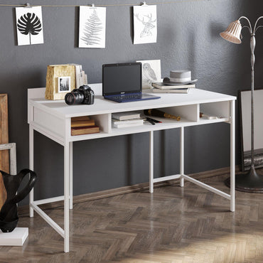 Tumata 47'' Wide Metal Wood Computer Desk with Open Shelves - Decorotika