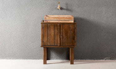 Classic Bathroom Solid Wood Cabinet, Sink and Framed Wall Mirror - Walnut - Decorotika