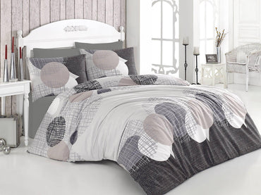 Ranforce 100% Turkish Cotton Queen Size 3 Piece Duvet Cover Quilt Bedding Set - Combination of White, Beige and Grey Colors - Decorotika