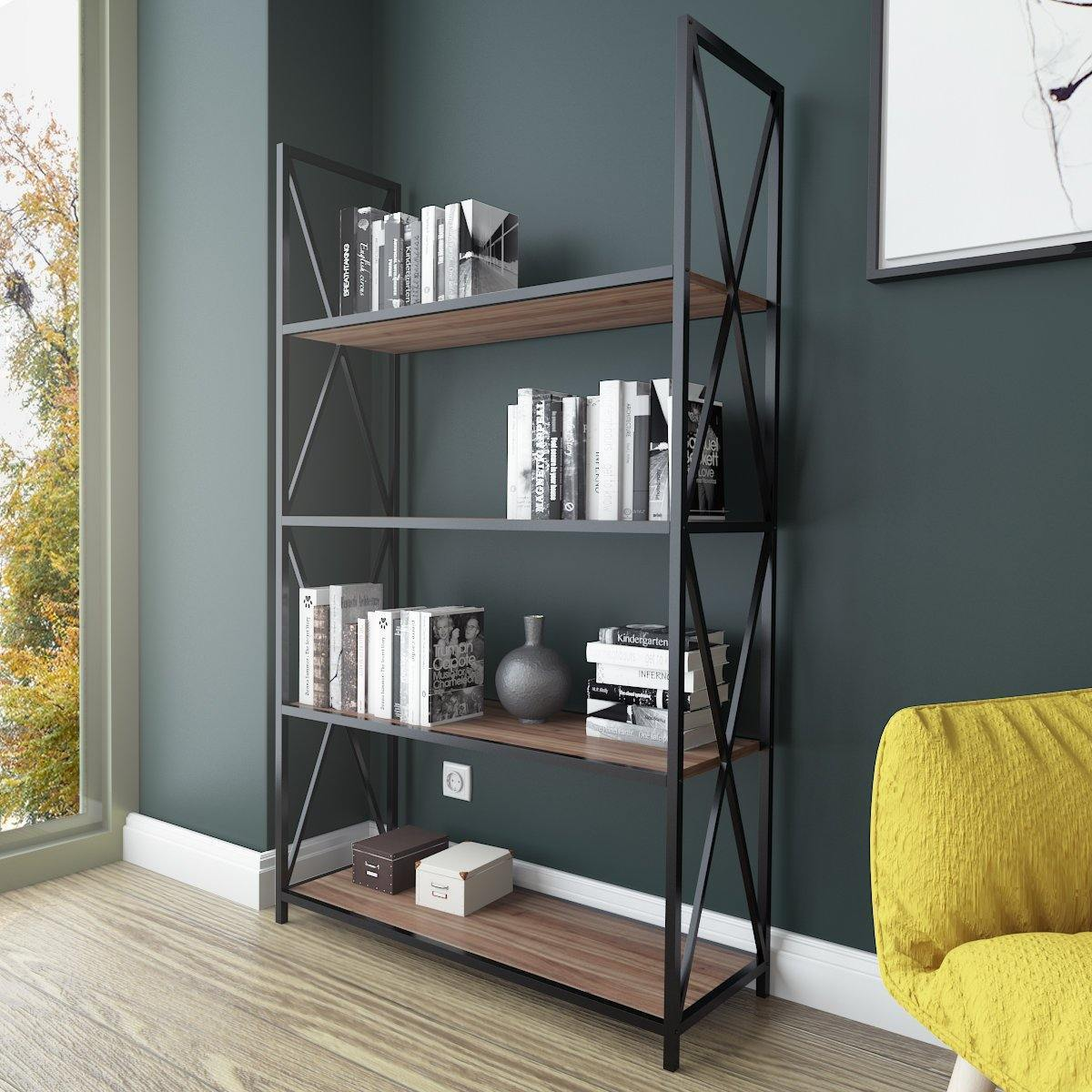 Xena 59'' Tall Metal Wood Bookcase - Decorotika