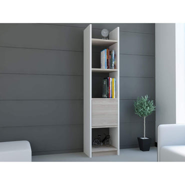 "Rivera 60"" Tall Manufactured Wood Bookcase - White & Oud Oak - Decorotika"