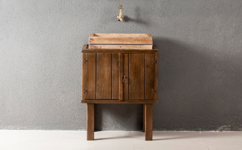 Classic Bathroom Solid Wood Cabinet and Sink - Walnut - Decorotika