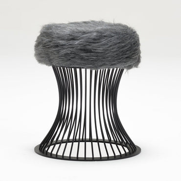 Puffy Metal Frame Ottoman Pouf Stool Seat with Feather Fabric Cover - Decorotika