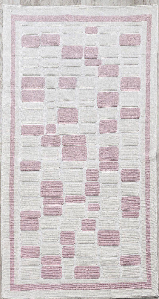 Mosaic Pattern 100% Turkish Cotton Bohemian Sanforized Washable Area Rug - Combination of Pink, White and Cream - Size 5' x 8' - Decorotika