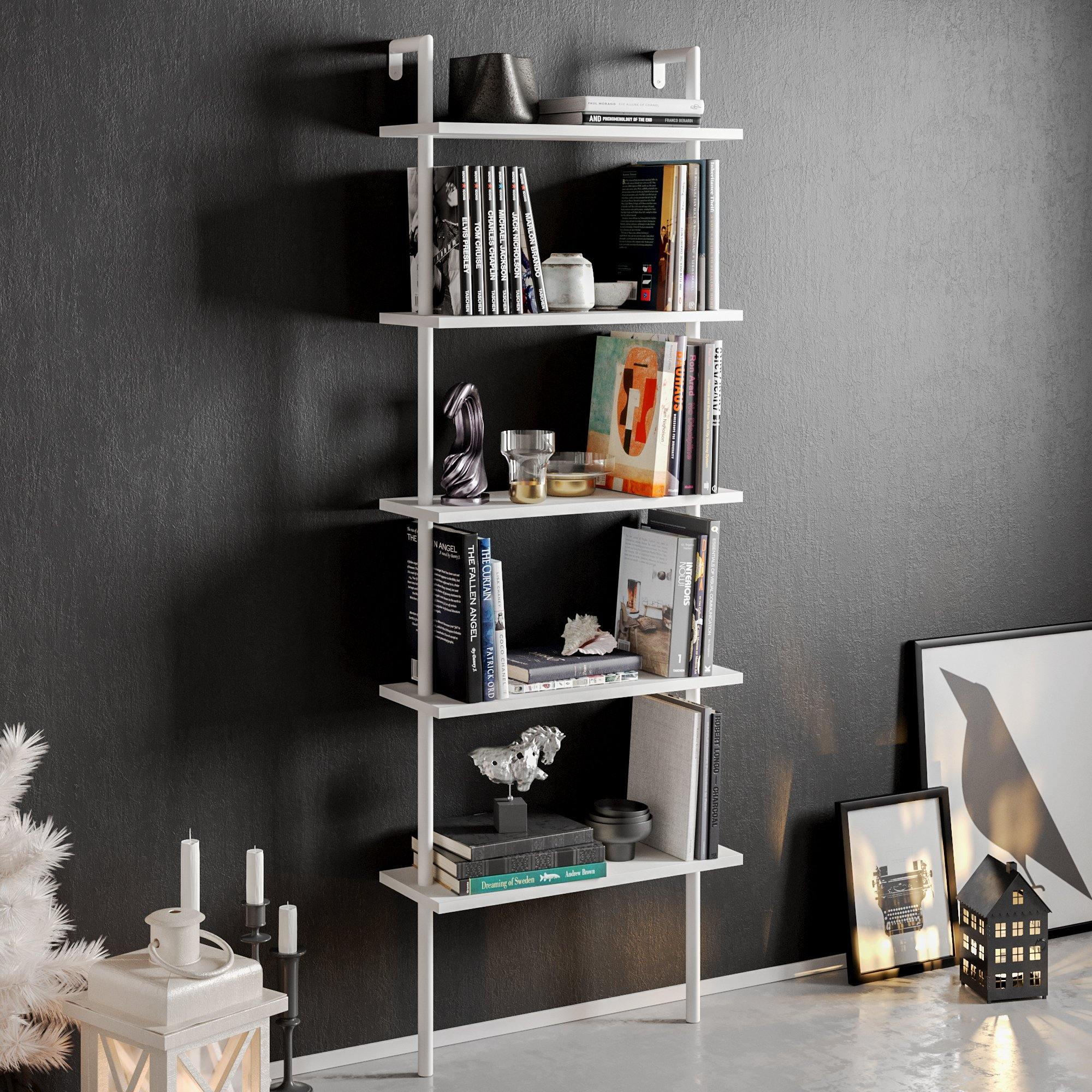 Paula 68'' Tall Metal Wood Accent Ladder Bookcase - Decorotika
