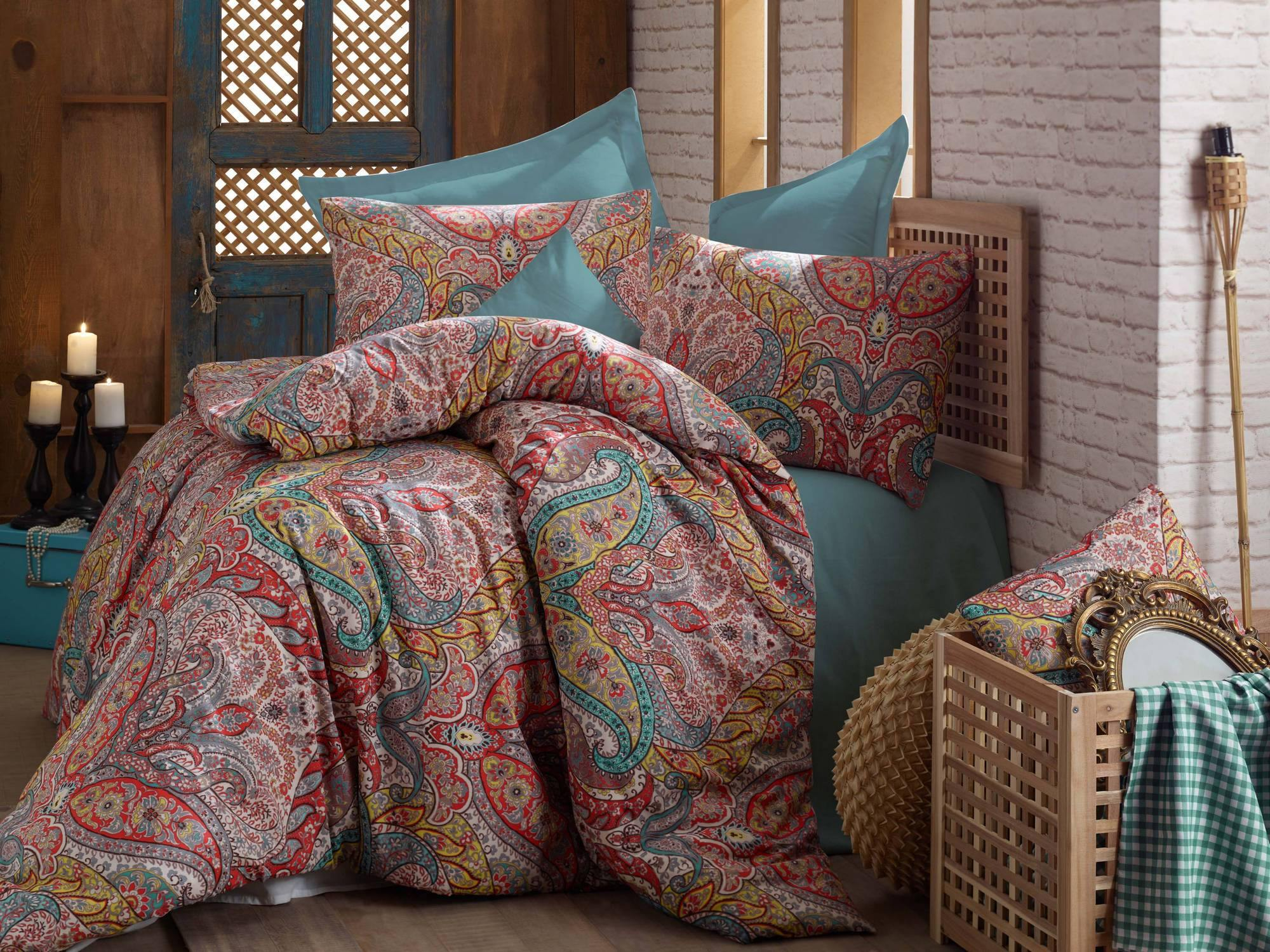 Gemeos 100% Turkish Cotton Queen Size 3 Piece Duvet Cover Quilt Bedding Set - Combination of Beige, Red, Turquoise and Grey Colors - Decorotika