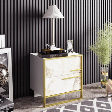 Polka Metal Wood Accent Nightstand - Decorotika