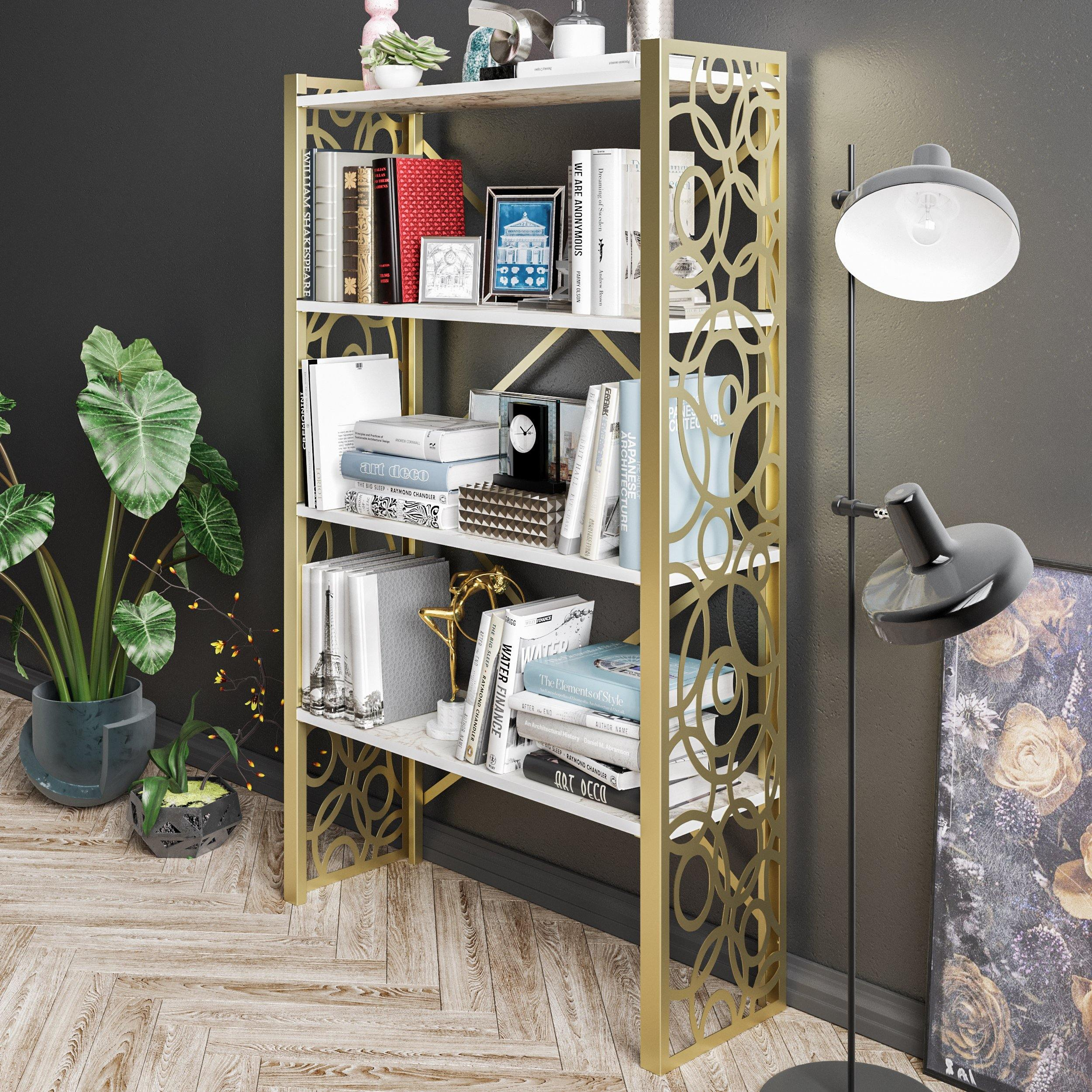 Lidya 58'' Tall Metal Wood Accent Bookcase - Decorotika