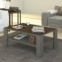 "Linea 36"" Wide Modern Living Room Accent Coffee Table with Storage Shelves - Vintage Brown & Grey - Decorotika"