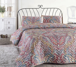 Gremeos 3 Piece Queen Size Quilt Padded Bedspread with Pillowcases - Combination of Green, Blue, Red and Beige Colors - Decorotika