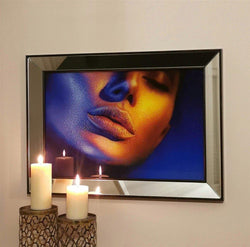 Lips Mirror Enhanced Wall Decor with Ultraviolet Print Design - Decorotika