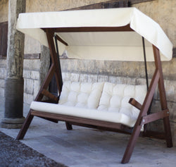 Parriz Pine Wood Porch Swing with Water Resistant Cushion - Decorotika