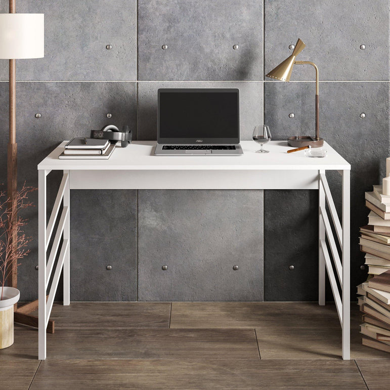 "Tuna 47"" Wide Metal Wood Computer Desk - Decorotika"