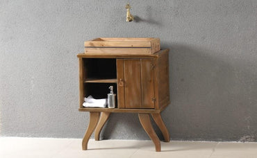 Classic Bathroom Solid Wood Cabinet with Cubby Shelf and Sink - Walnut - Decorotika