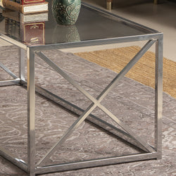 Geises 47'' Wide Metal & Tempered Glass Coffee Table