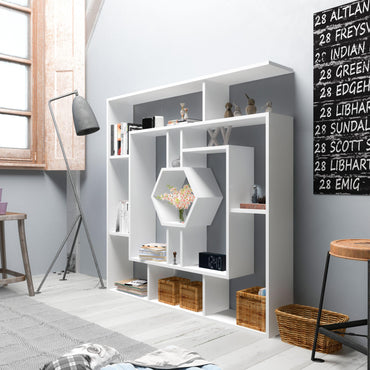 "Labrina 53"" Tall Unique Geometric Bookcase - Decorotika"