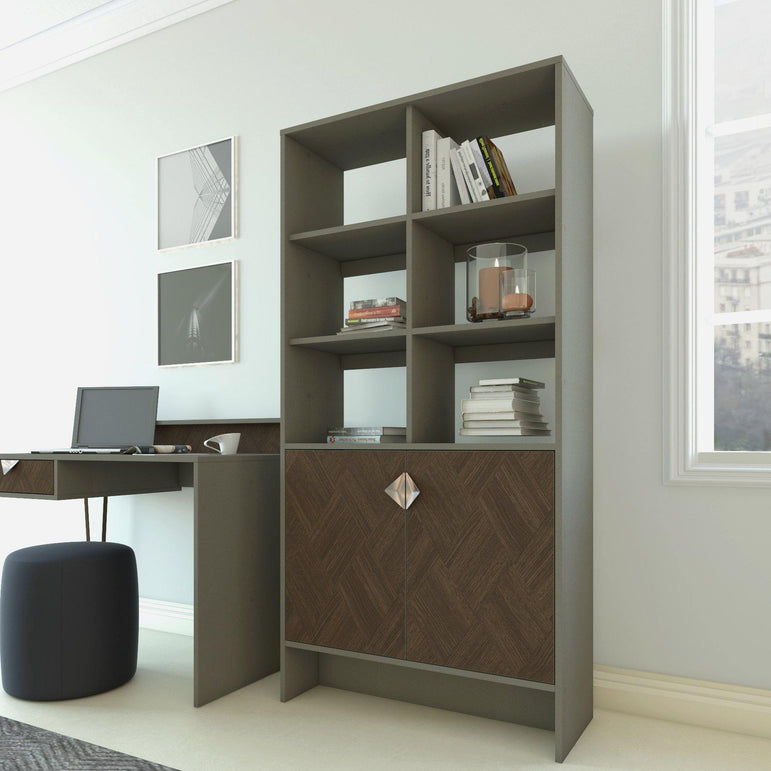"Linea 72"" Tall Modern Bookcase Bookshelf with Cabinet and Open Shelves - Decorotika"