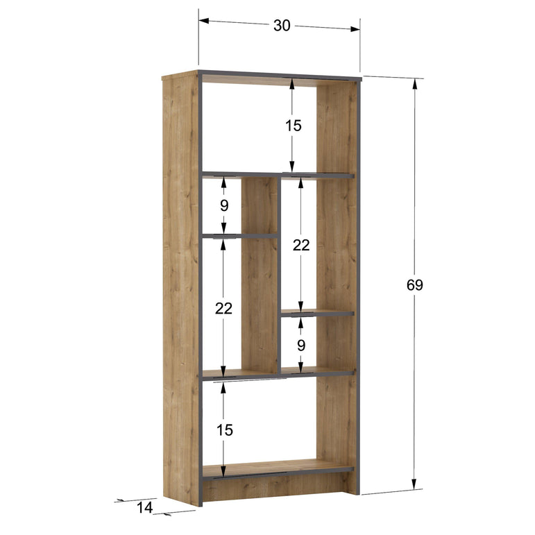 Manhattan 69'' Tall Manufactured Wood Bookcase - Oud Oak - Decorotika