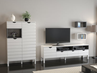 "Adele 71"" Entertainment Center with Accent Cabinet & Wall Shelves - Decorotika"