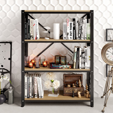 Shenna 47'' Tall Metal Wood Accent Bookcase - Decorotika