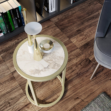Tambur Metal Wood Side End Table - Decorotika