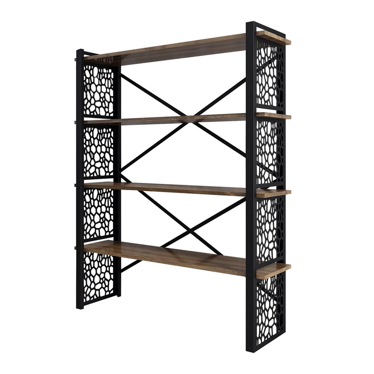 Favo 59'' Tall Metal Wood Bookcase - Decorotika