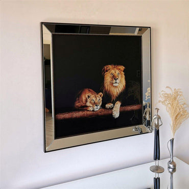 Lions  Mirror Enhanced Wall Decor with Ultraviolet Print Design - Decorotika