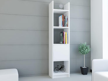 "Rivera 60"" Tall Manufactured Wood Bookcase - White - Decorotika"