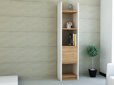 "Rivera 60"" Tall Manufactured Wood Bookcase - White & Teak - Decorotika"