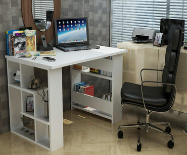 Jazz Computer Desk with Open Shelves - White - Decorotika