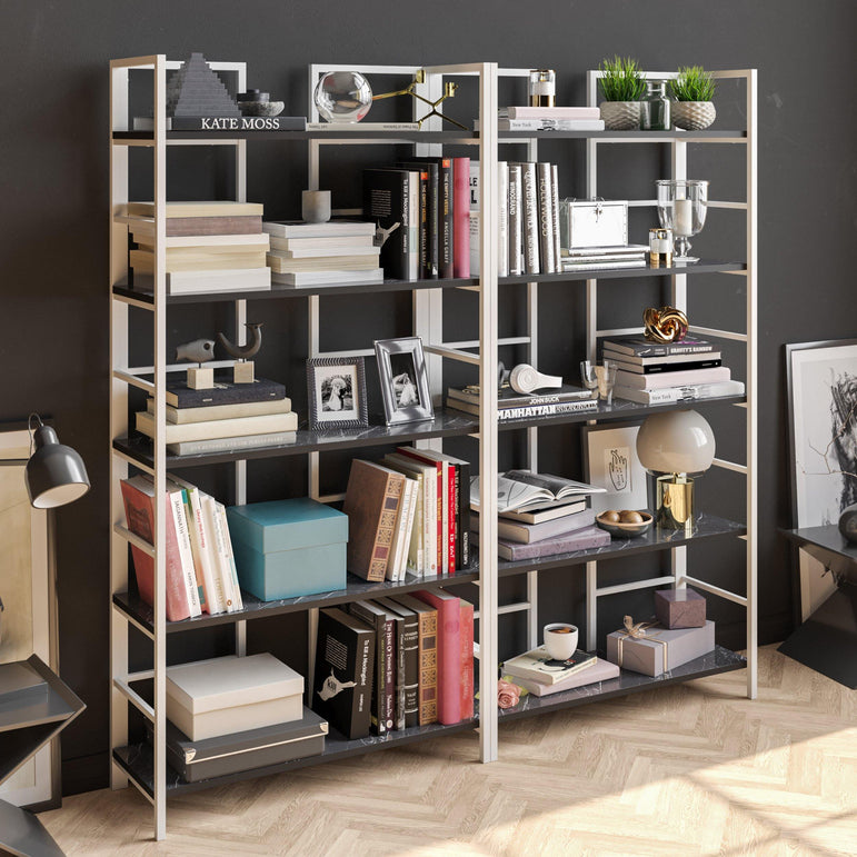 "Tinleys 71"" Tall Metal Wood Bookcase - Decorotika"