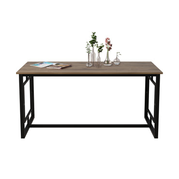 "Alin 63"" Wide Metal Wood Dining Table - Decorotika"