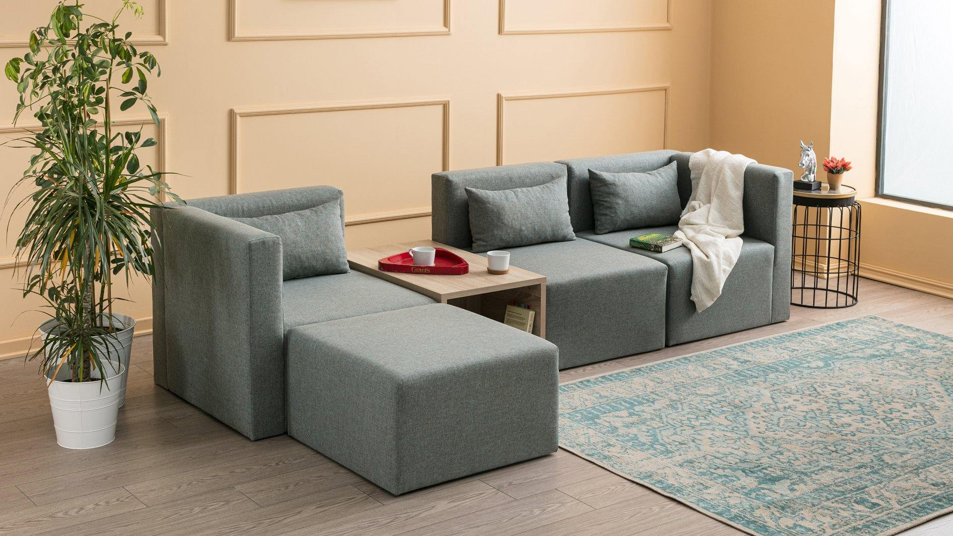 Plus Ottowa Moduler Corner Sofa with Coffee Table - Blue - Decorotika