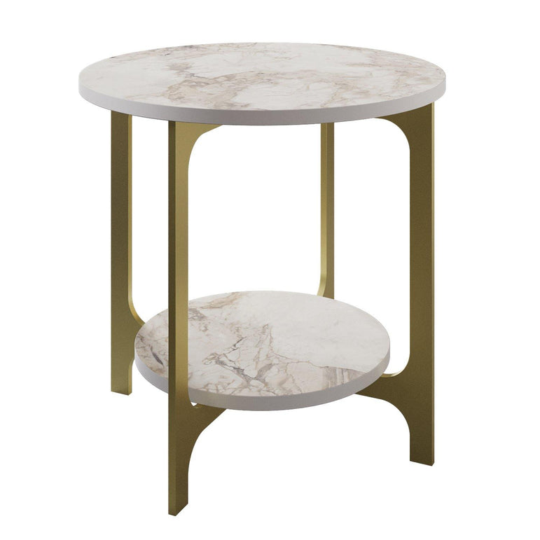 Versy Two-Layered Metal Wood Round Side End Table - Decorotika