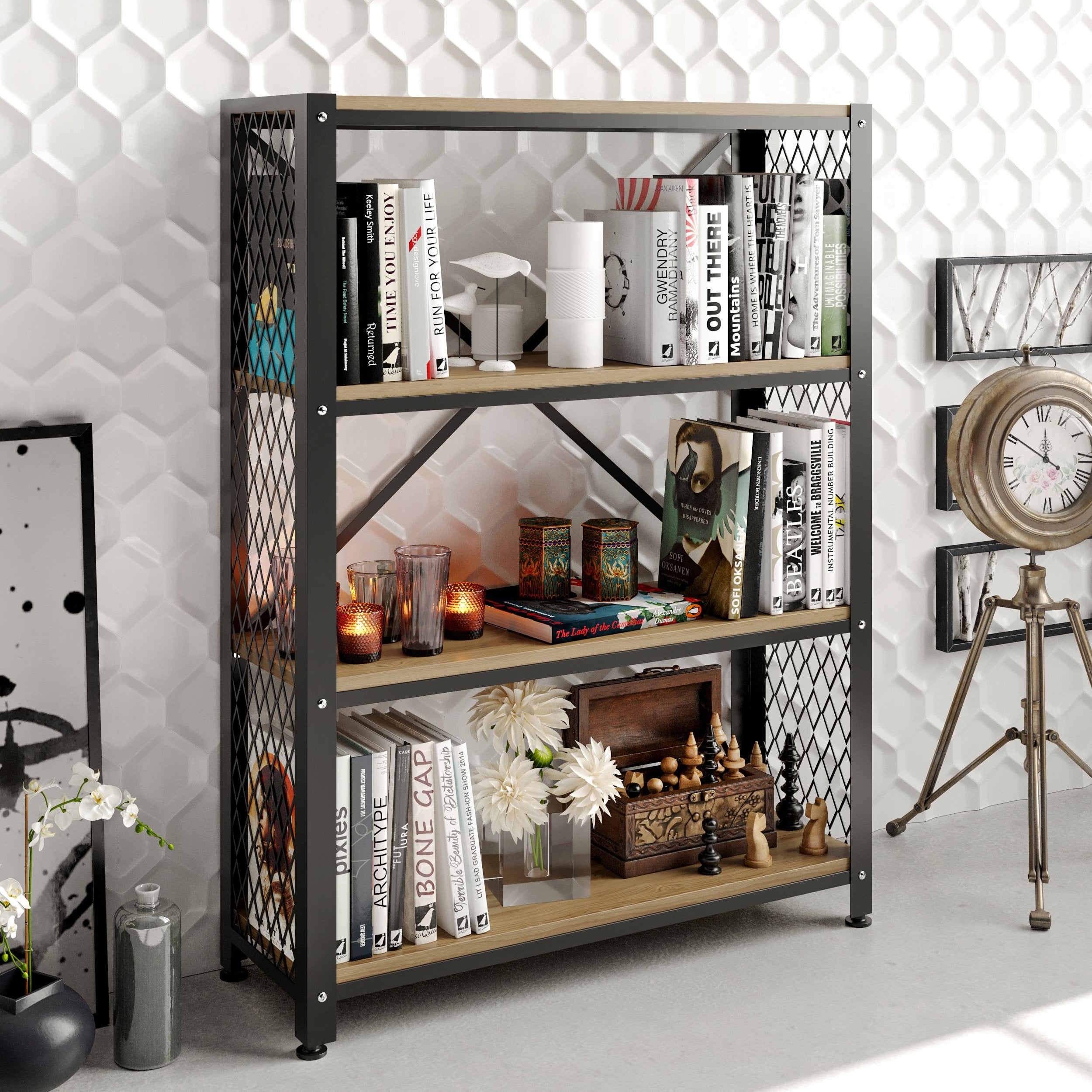 Shenna 47.8'' Tall Metal Wood Accent Bookcase - Decorotika