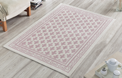 Pearl 100% Cotton Washable Bohemian Area Rug - Light Pink and Off-White - Decorotika