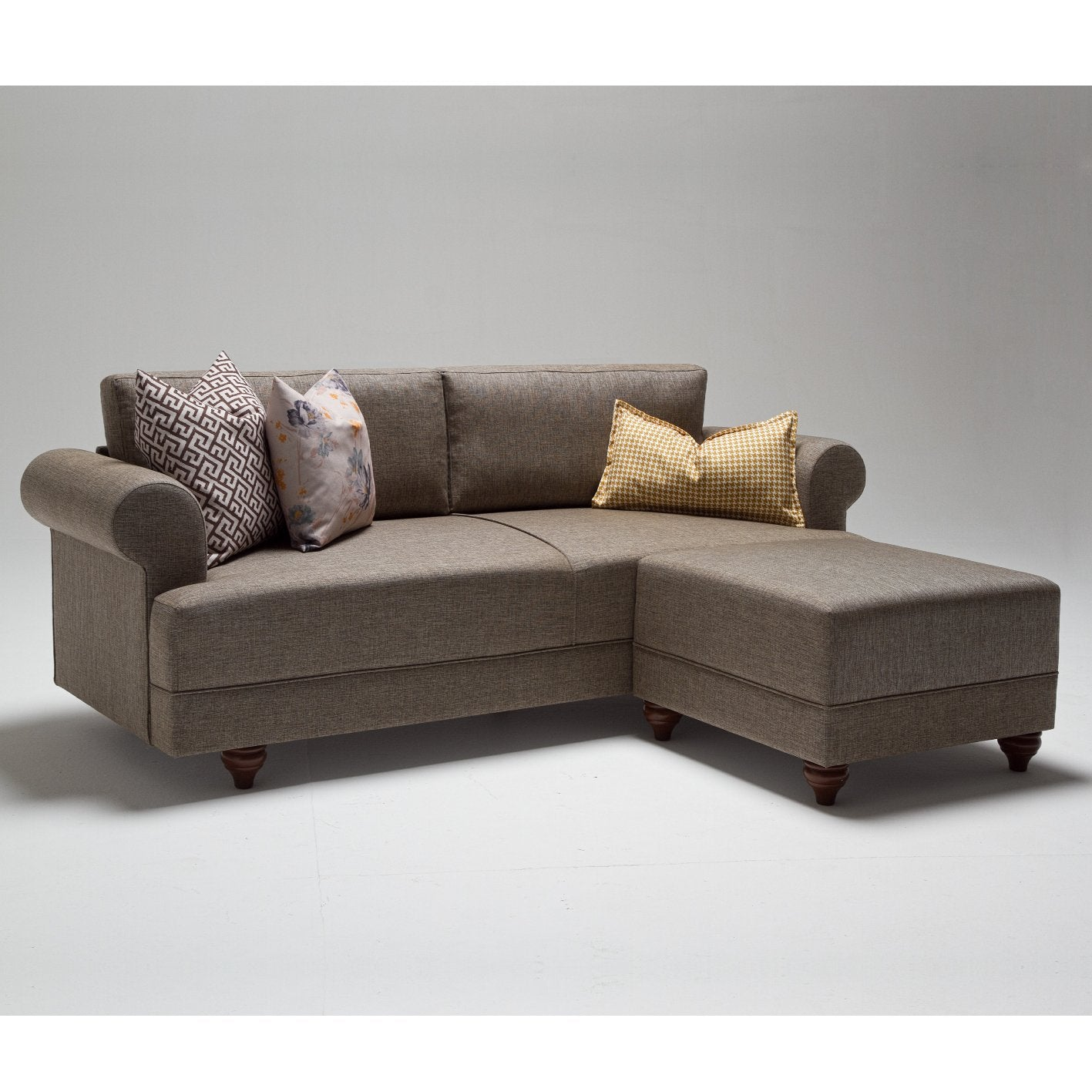 Samara Corner Sofa - Brown - Decorotika