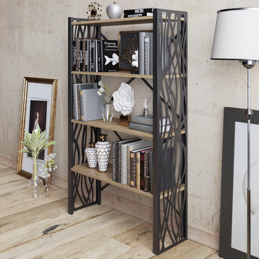 Merkel 58'' Tall Metal Wood Accent Bookcase - Decorotika