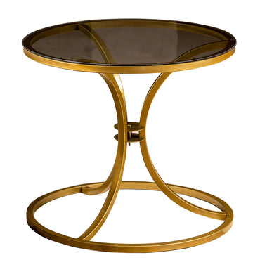Corleone Metal & Tempered Glass Side End Table - Decorotika